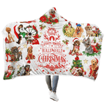 3D Dogs having a very merry holly jolly christmas Full-Print Hooded Blanket
