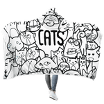 3D Cat World No Dogs Full-Print Hooded Blanket