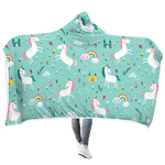3D Unicorn with rainbow Full-Print Hooded Blanket
