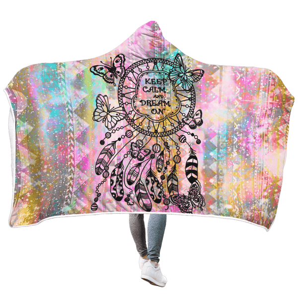 3D Dream Catcher Keep Calm And Dream On Full-Print Hooded Blanket