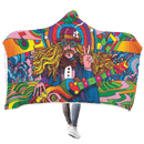 3D Hippie Peace Love Full-Print Hooded Blanket