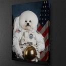 White Dog Astronaut Canvas