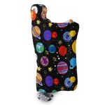 3D Planets in galaxy  Full-Print Hooded Blanket