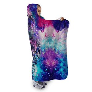 3D Galaxy Wolf Full-Print Hooded Blanket