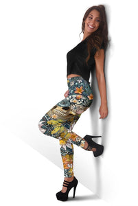 3D Full-print Leggings Skull and Flowers