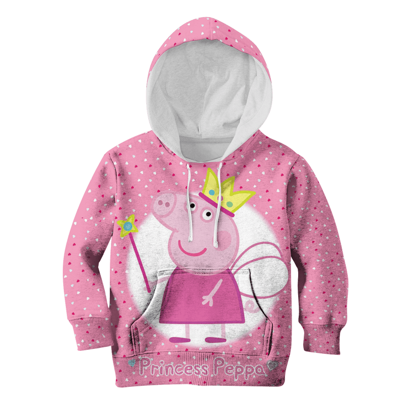 3D princess  peppa   Kid Full-Print Hoodie T-shirt