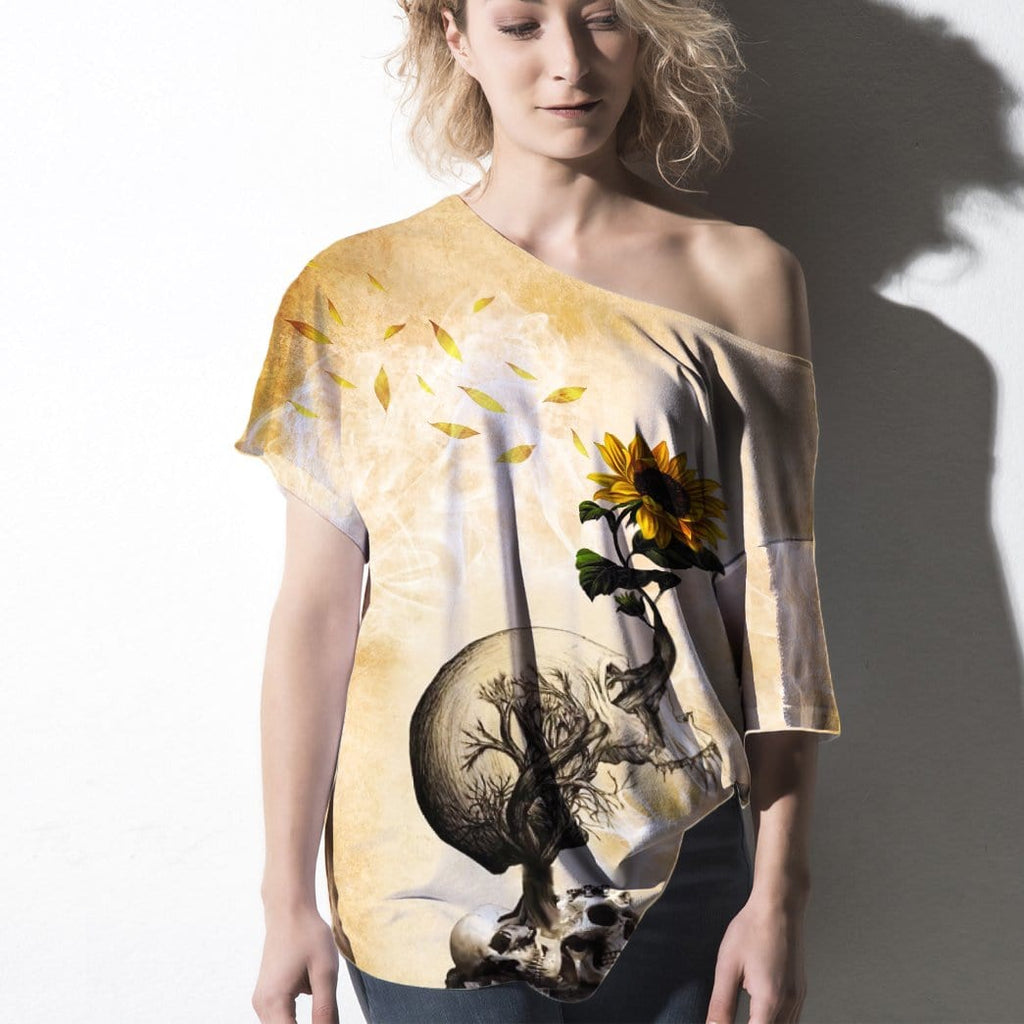 Gearhuman Off-shoulder Women T-shirt Sweater Skull And Sunflower