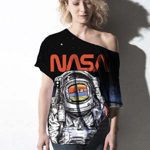 Gearhuman Off-shoulder Women T-shirt Sweater Nasa Apparel