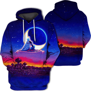 Gearhuman 3D Aladdin and Jasmine Tshirt - Zip Hoodies Apparel