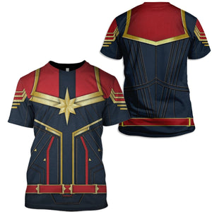 3D  Captain Marvel  Full-Print T-shirt - Hoodie Apparel