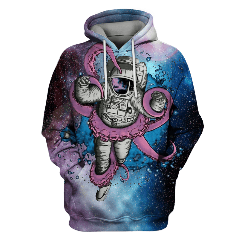 3D  Astronaut and Monster OuterSpace Full-Print T-shirt - Hoodie