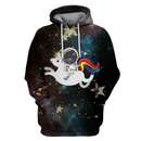3D Astronaut Riding Unicorn OuterSpace Full-Print T-shirt - Hoodie