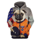 Gearhuman 3D Puggy Dog Astronaut  Tshirt - Zip Hoodies Apparel
