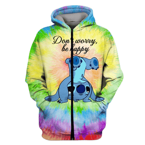 Gearhuman 3D   Stitch  DON'T WORRY BE HAPPY   Tshirt - Zip Hoodies Apparel