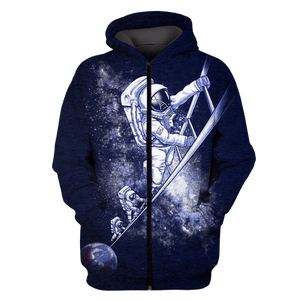 3D  Astronauts Climbing Up Space Full-Print T-shirt - Hoodie Apparel