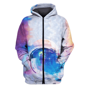 3D Astronaut Wearing Helmet OuterSpace Full-Print T-shirt - Hoodie Apparel