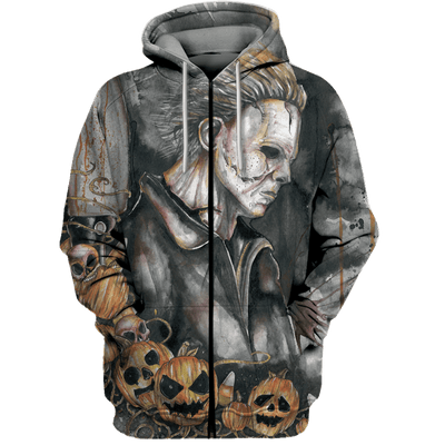 3D Horror movie Tshirt - Zip Hoodie