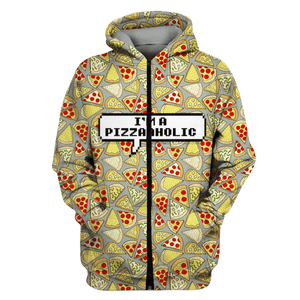Gearhuman 3D Pizza Tshirt - Zip Hoodies Apparel