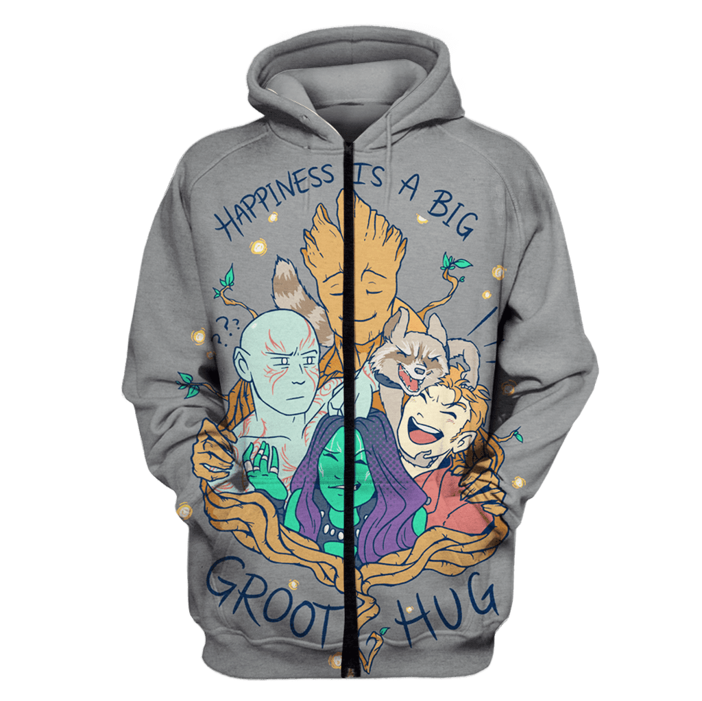 Happiness is a big Groot Hug Tshirt - Zip Hoodies Apparel