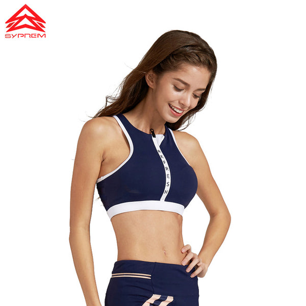 Navy Zipper Sports Bra