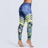 Striped Leaf Print Activewear Leggings