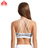 Triple Strap Crack Print Sports Bra