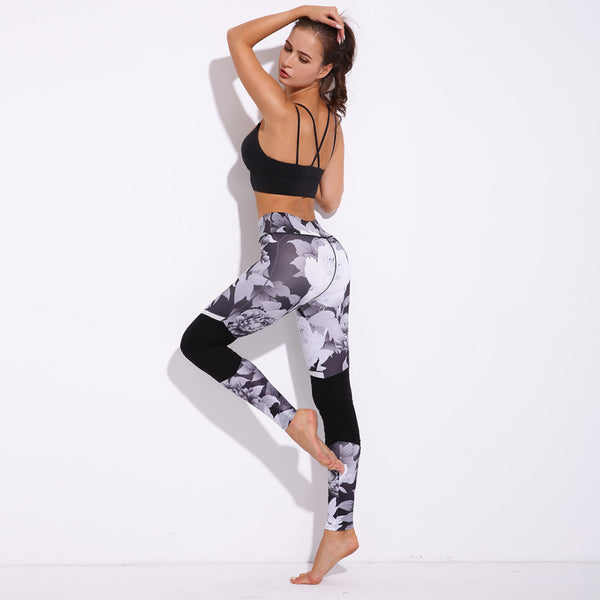 Two-Tone Floral Sports Leggings
