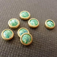 Crea Stones NP-124H Round Gold Marble Green (10pcs) [While Supplies Last]