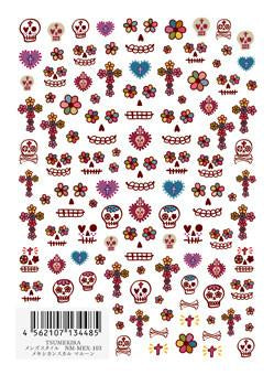 Tsumekira Sticker Mexican Skull Maroon NM-MEX-103