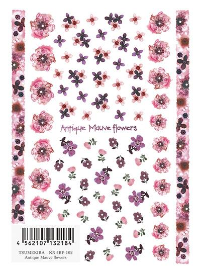 Tsumekira Antique Mauve Flowers NN-IBF-102