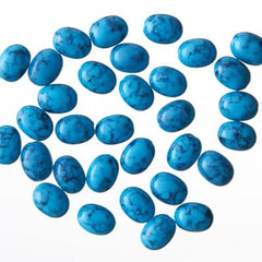NLS Turquoise Oval Dark Blue (6x8mm) 30pcs