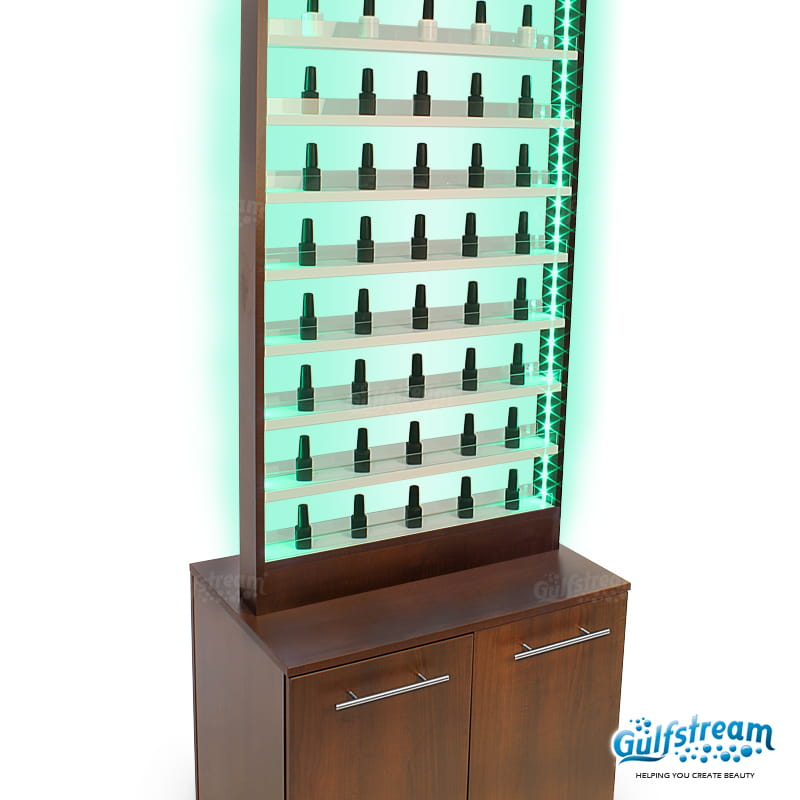 PARIS NAIL POLISH RACK WITH CABINET AND LED LIGHT Gulfstream