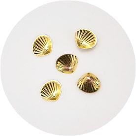 NLS Shell Stones Clam Gold (5mm) 5pcs