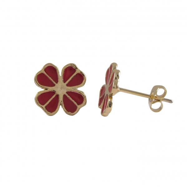 DLF Red Enamel Four Leaf Clover, Gold Tone Post Earrings W18