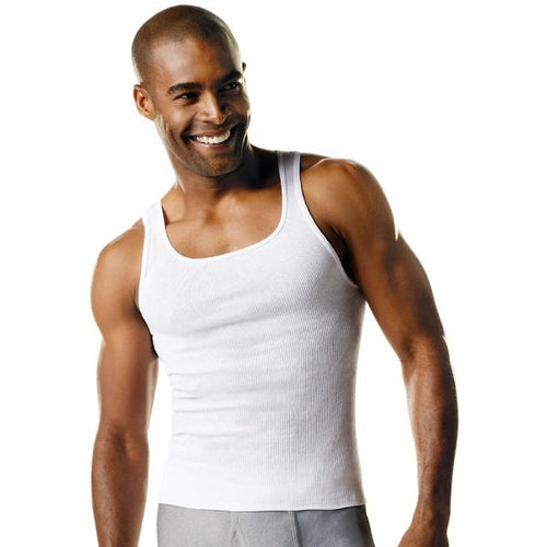 Hanes Men's TAGLESS® ComfortSoft® Tank Undershirt 4X-5X 3-Pack - Best Seller!