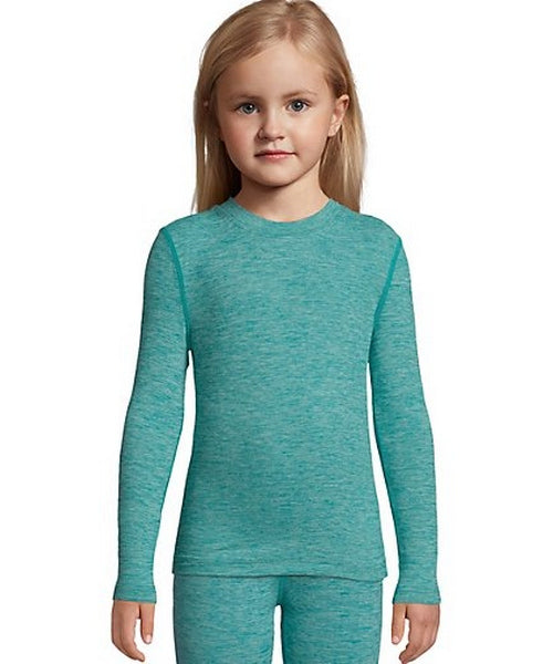 HANES GIRLS' THERMAL SPACE DYE CREWNECK