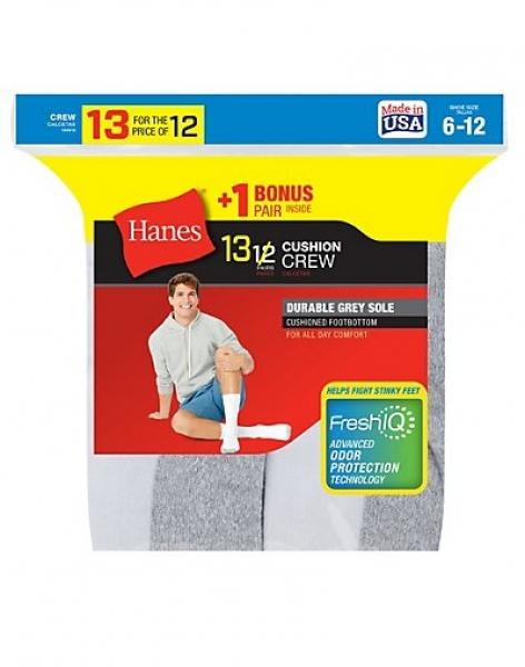 Hanes Men's Cushion Crew Socks 13-Pack (Includes 1 Free Bonus Pair) - New Style