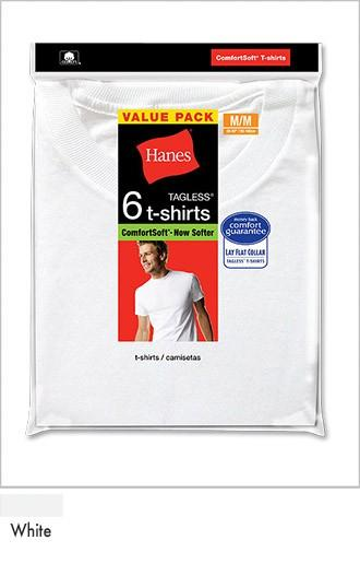 Hanes Men's White Crew Neck P6 White