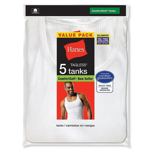 Hanes Men's TAGLESS® ComfortSoft® White A-Shirt 5-Pack