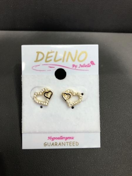 DLF White, Gold Plated Surgical Steel Double Cutout Heart Post Earrings