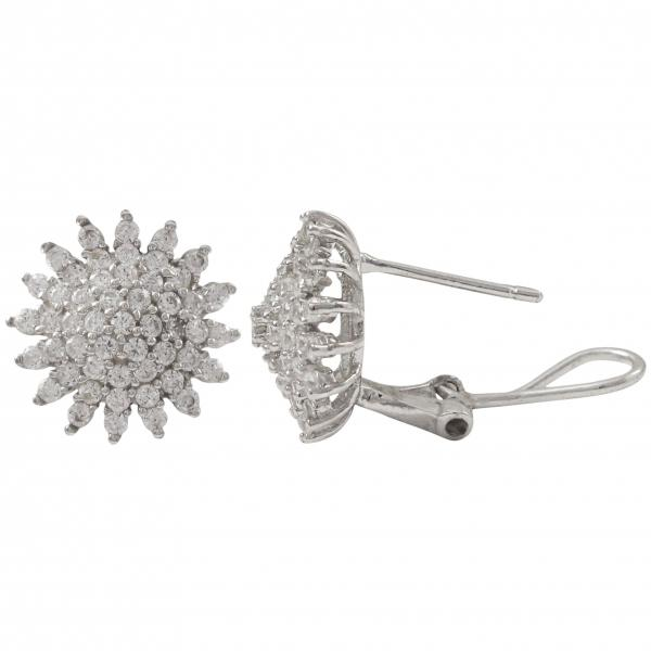 DLF Rhodium Plated Sterling Silver, 14mm Starburst Circle, Post Clip Silver/White Earrings