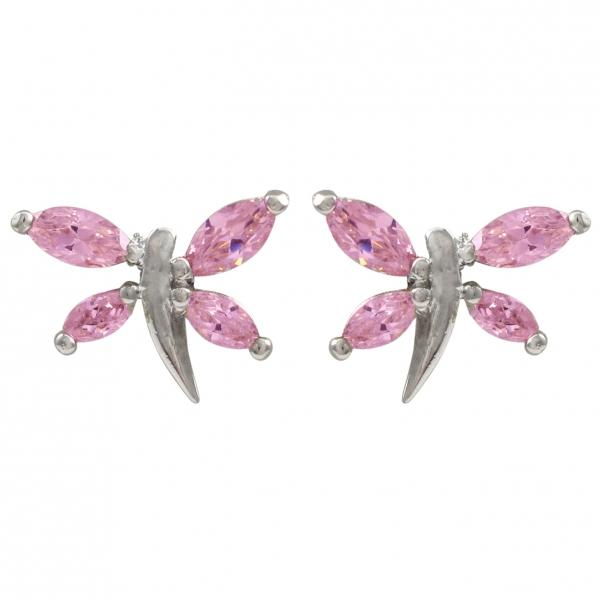 DLF Dragonfly Pink/Silver Earrings
