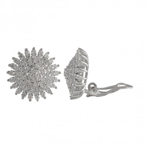 DLF Rhodium Plated Sterling Silver, 18mm Starburst Circle Clip Earrings