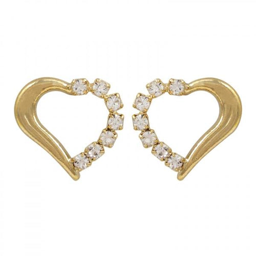 DLF Gold Filled Heart Gold/White Earrings