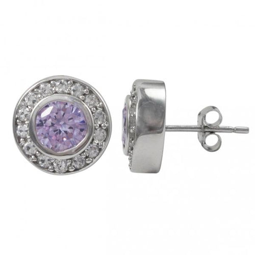 Sterling Silver-CZ Post Silver/Lavender Earrings