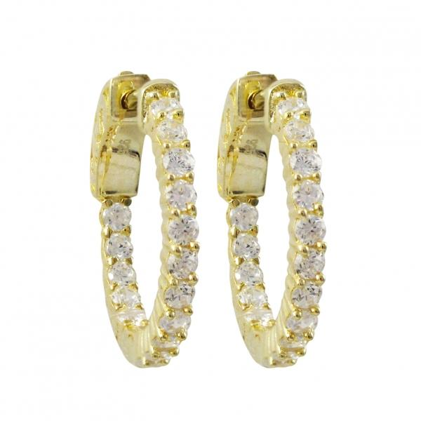 DLF Gold Plated Sterling Silver 20x20mm Hoop Gold/White Earrings With Hinge Closure