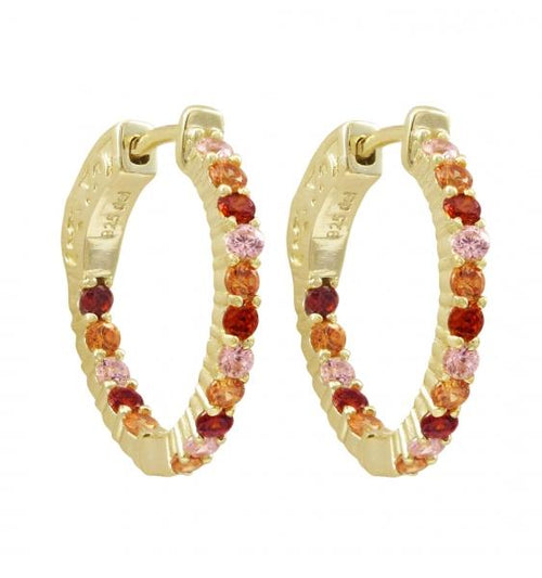 DLF Gold Plated Sterling Silver, Multi Color 20x20mm Hoop Earrings With Hinge Closure