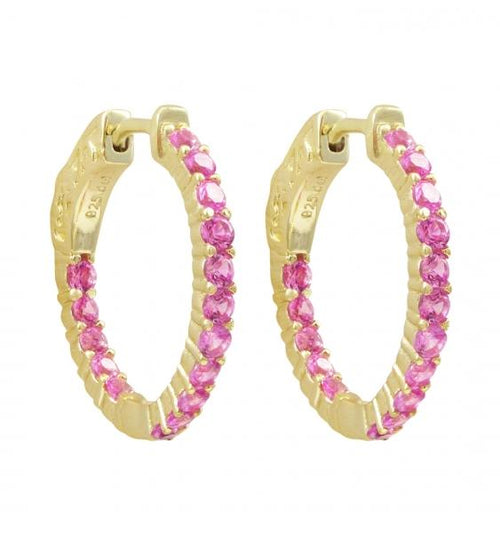 DLF Gold Plated Sterling Silver Ruby 20x20mm Hoop Gold/Pink Earrings With Hinge Closure