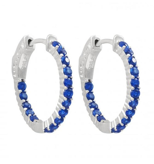 DLF Rhodium Plated Sterling Silver, Spinel Blue Stones 20x20mm Hoop Earrings With Hinge Closure