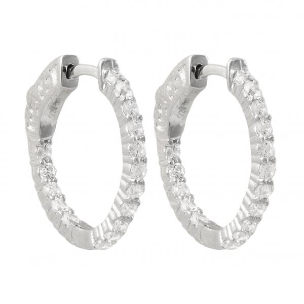 DLF Rhodium Plated Sterling Silver 20x20mm Hoop Silver/White Earrings With Hinge Closure